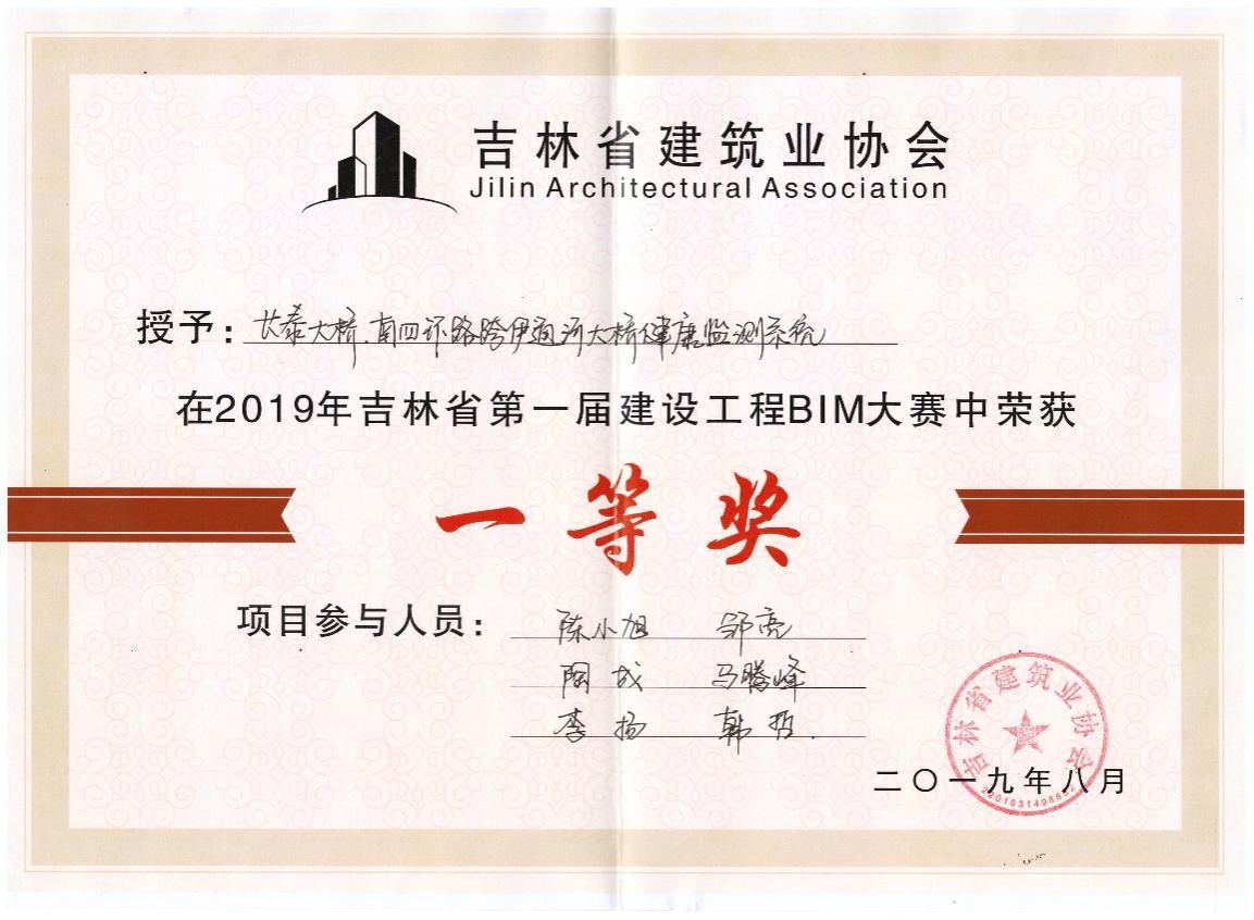 热烈祝贺我公司荣获吉林省第一届建设工程BIM大赛一等奖